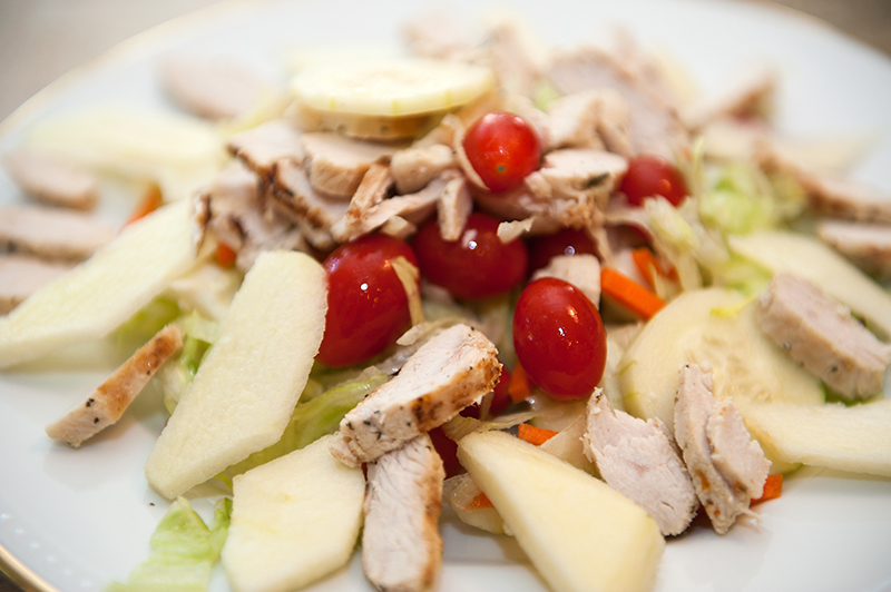Chicken and Apple Salad with Cherry Tomatoes